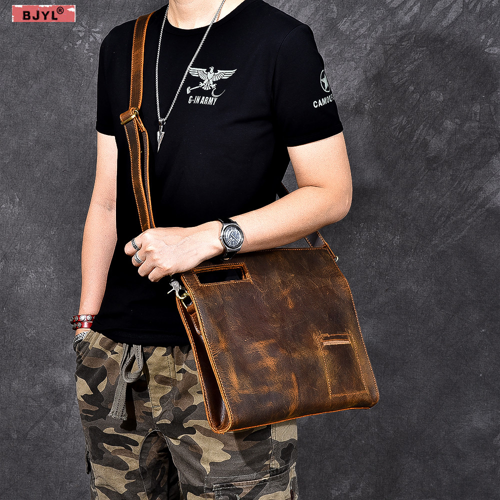 BJYL Men handbags Functional section First layer cowhide portable Messenger bag genuine leather retro men crossbody shoulder bagBJYL Men handbags Functional section First layer cowhide portable Messenger bag genuine leather retro men crossbody shoulder bag
