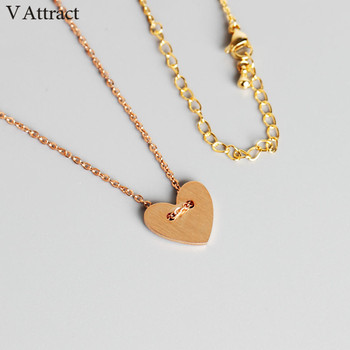 V Attract Stainless Steel Fashion Tiny Heart Charm Necklace For Women 2018 Statement Jewelry Gold Choker Feminino Com Pingente image