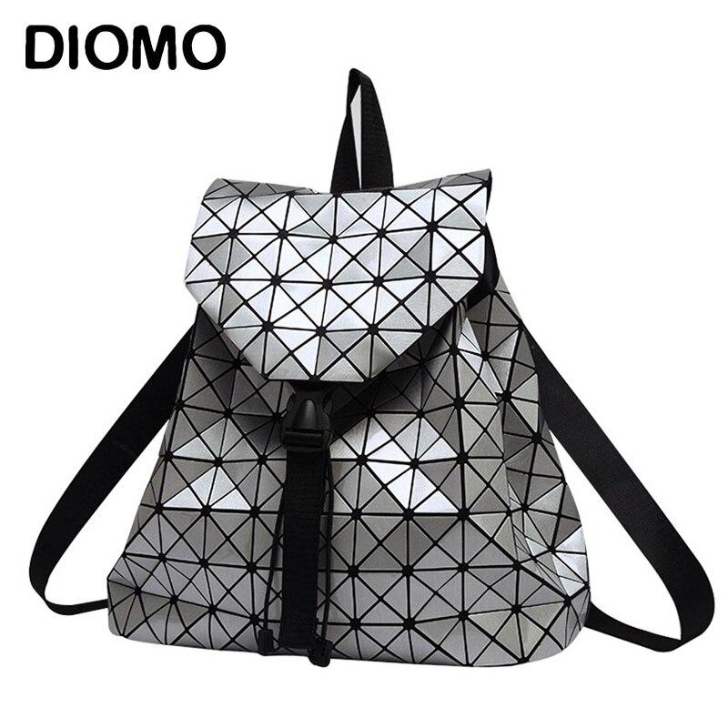 Frauen Rucksack Leucht Geometrische Plaid Pailletten Weibliche Rucksäcke Für Teenager Mädchen Bagpack Kordelzug Holographische Rucksack
