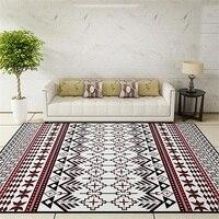 דלת רצפת שטיח דקורטיבי סלון סלון חדר בסגנון לאומי אזור שטיח האמבטיה משטח מזרן יוגה אדום אתני שחור פסים פרחוניים