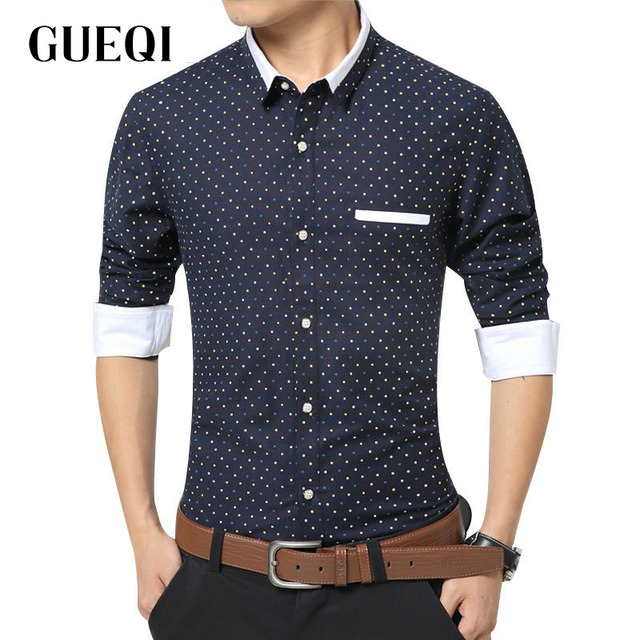 GUEQI Brand Men Casual Cotton Shirts Plus Size M-5XL Khaki Clothing Small Dots Printed Style Man Patchwork Fashion Shirts