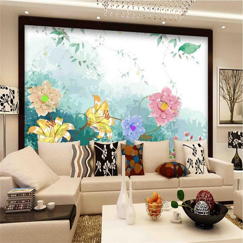 Custom Wall Papers Home Decor Hand Painted 3d Flower Wallpaper Non-Woven Kitchen TV Background Study Bedroom Kitchen Photo Wall beibehang wall papers home decor wallpapers cute child radiant non woven pearl wallpapers boy girl bedroom background wallpaper