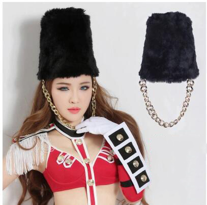 Ночной клуб бар театральная защитная полоса Bearskin шляпа черная длинная шапка для волос