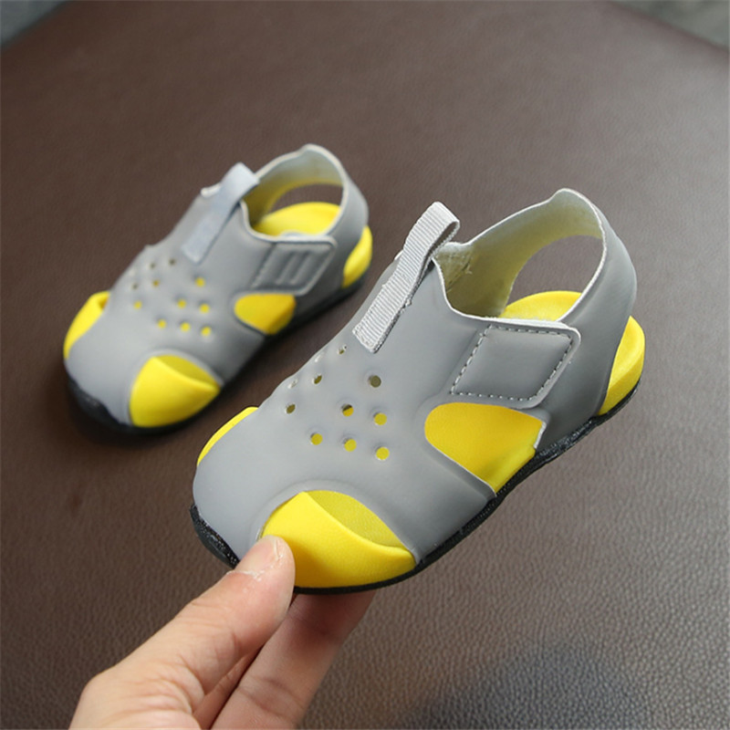 DIMI 2019 New Summer Infant Shoes Closed Toe Soft Baby Sandals Fashion Breathable Boys Girls Beach Sandals T19-21