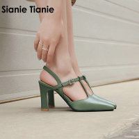 Sianie Tianie 2019 summer fashion green yellow thin high heels woman shoes pointed toe T strap slingback sandals women size 44