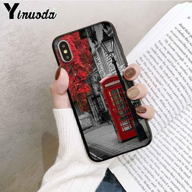 Yinuoda style london bus england telephone vintage british Luxury for iPhone X XS XR XSMax 6 6S 7 7plus 8 8Plus Xs 5 5s 5c SE