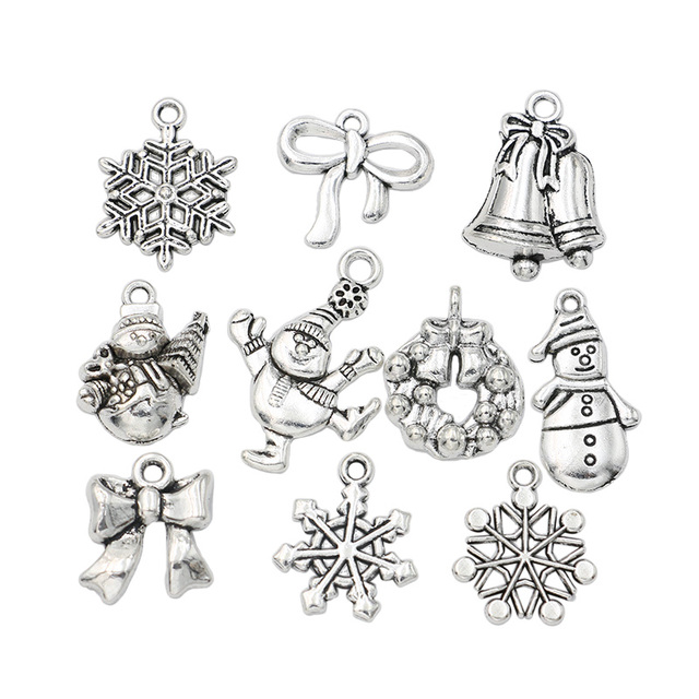 Christmas charm antique silver plated snowflake charms pendants fit christmas charm antique silver plated snowflake charms pendants fit bracelet jewelry making accessories 10pcs mozeypictures Gallery