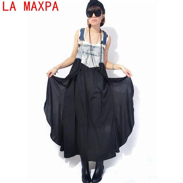 Макси платье 2018 Для женщин летние джинсы шифон лоскутное платье на бретелях дамы Нерегулярные Платья для женщин больших размеров Vestido Longo