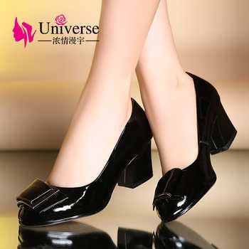 Universe Big Size Office Lady Pumps Dress 34-41 Autumn Spring Patent Leather Round Toe Rubber Black Low Heel Women Shoes E077 - DISCOUNT ITEM  51% OFF All Category
