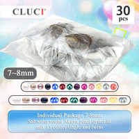CLUCI 30pcs 7 8mm Mix 13 Colors Single And Twins Pearls Oysters Individually Wrapped Surprising Party