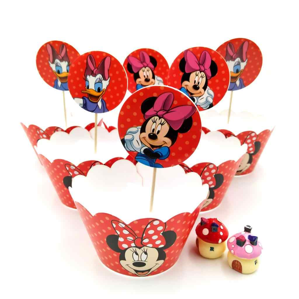 24pcs Disney Baby Shower Bambini Favori Mickey Mouse Decorazione Involucri di Carta Del Bigné Toppers Felice Festa di Compleanno Forniture