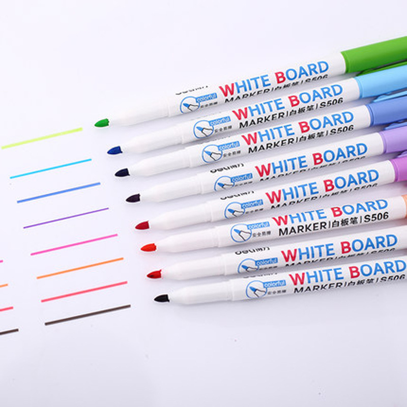 8 Colors Low-Odor Dry Erase Markers, Whiteboard Erasable Marker Pens Set, Ultra Fine Tip, Assorted Colors, 8-Count