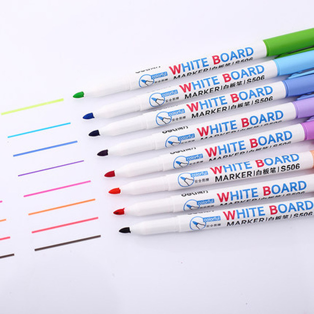 8 Colors Low Odor Dry Erase Markers, Whiteboard Erasable