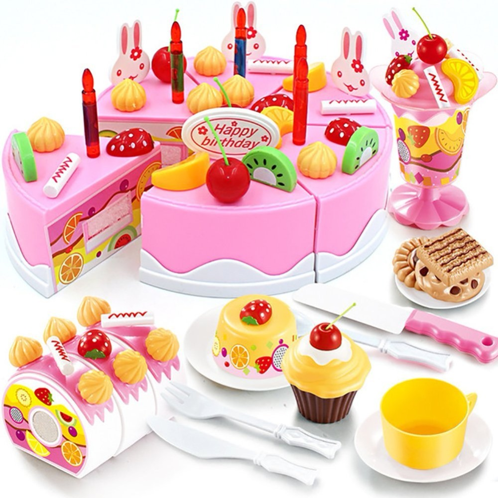 DIY Cutting Birthday Party Cake Pretend Play Kitchen Food Toys Set Girls Gift for Children 75PCS (Pink)