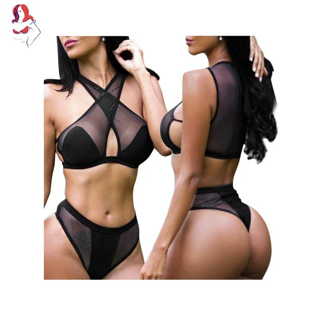 UCHIHA LQ Camouflage Bikini Set Black Translucent Halter High Neck Padded Thong bikini Biquini Ripple Push Up Bikini 2017