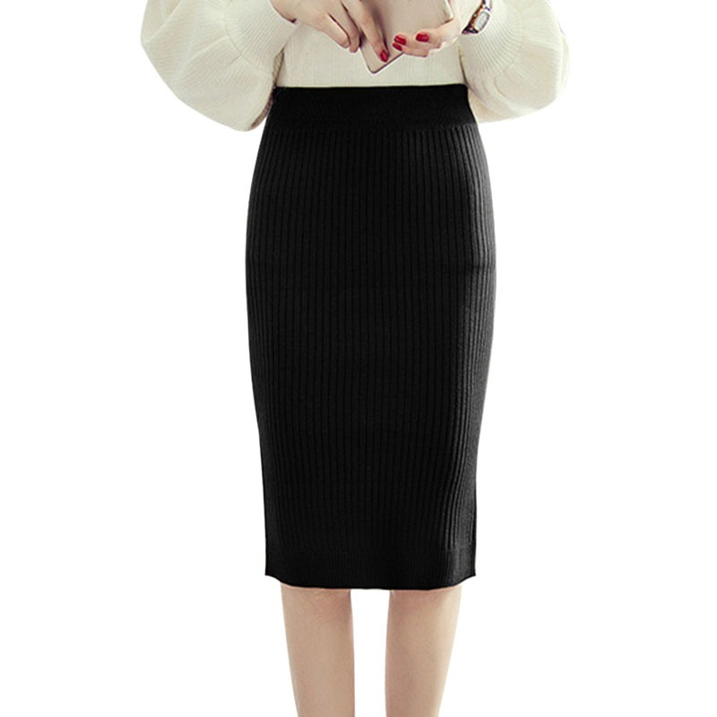 <font><b>Sexy</b></font> Pencil Skirts Women Wool Knit Skirt Package <font><b>Hip</b></font> High Waist Midi Skirt Solid Color image