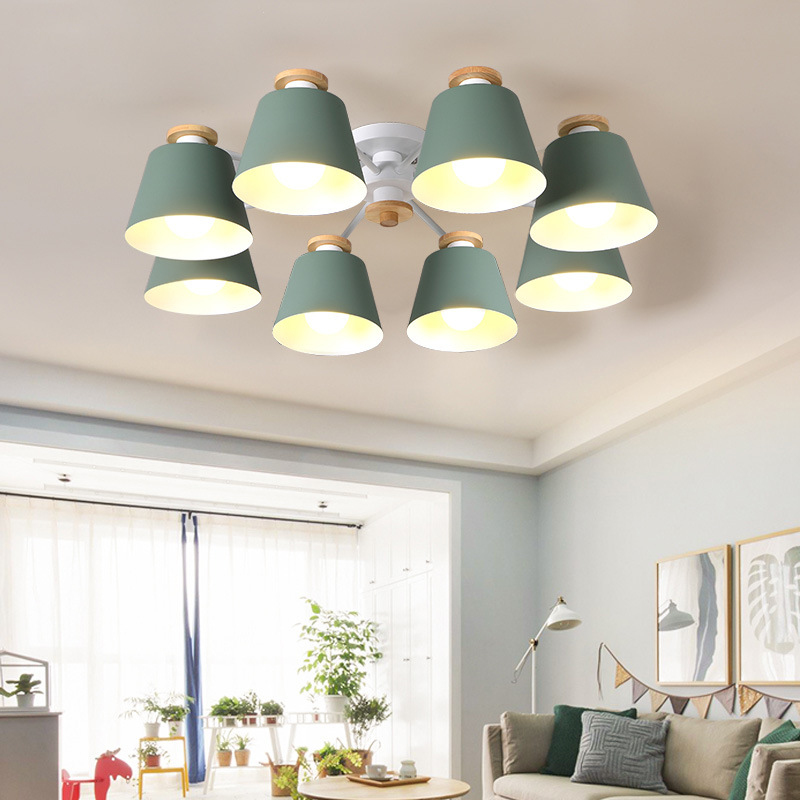 Europe style simple wood led sweet Warm iron lamp different colors 3 or 6 or 8 head led pendant light remote control parlor lamp cybernetics or control