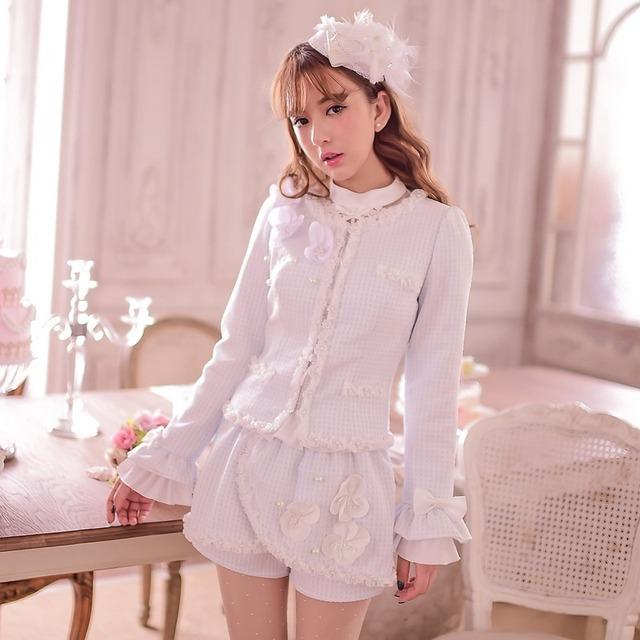 Princesa lolita doce calções de chuva de Doces estilo Japonês doce arco pérola Flor rendas prego talão falbala calções C15CD5861