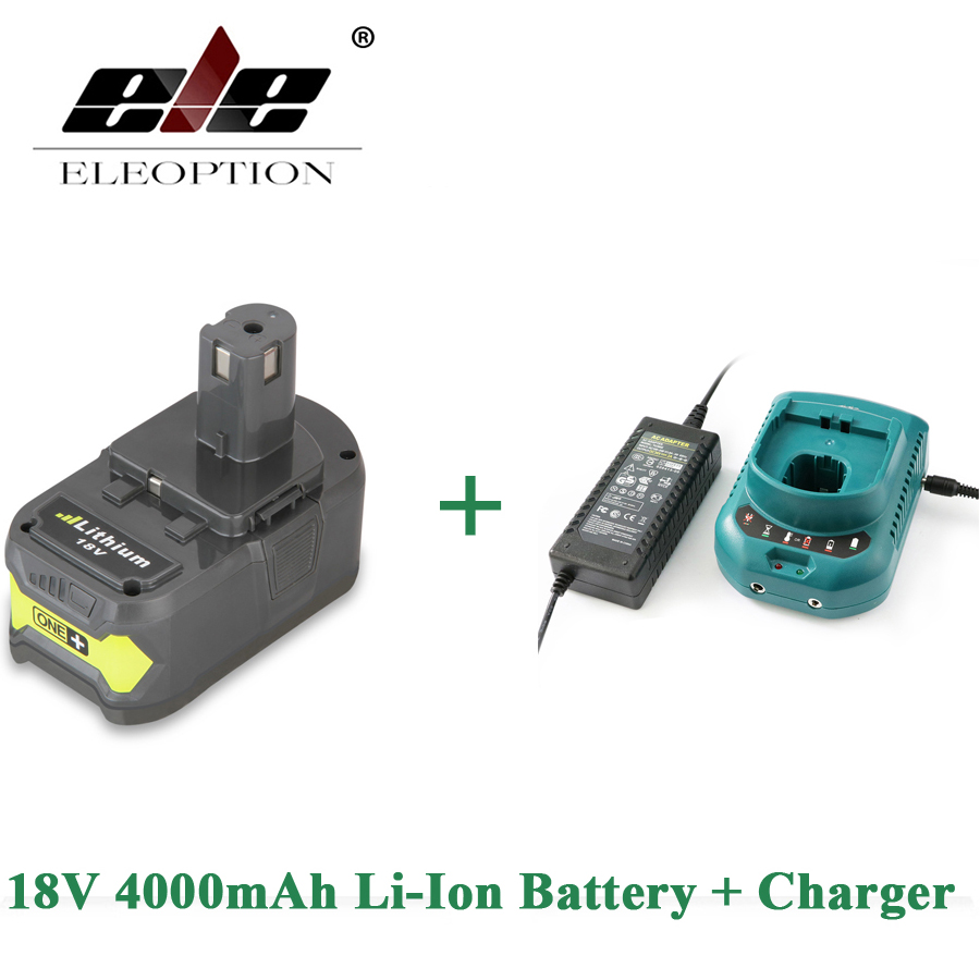 ELEOPTION 18V 4000mAh Li-Ion Rechargeable Battery Power Tool Battery For Ryobi P108 RB18L40 + Charger For 12-18V Ryobi Battery eleoption 2pcs 18v 3000mah li ion power tools battery for hitachi drill bcl1815 bcl1830 ebm1830 327730