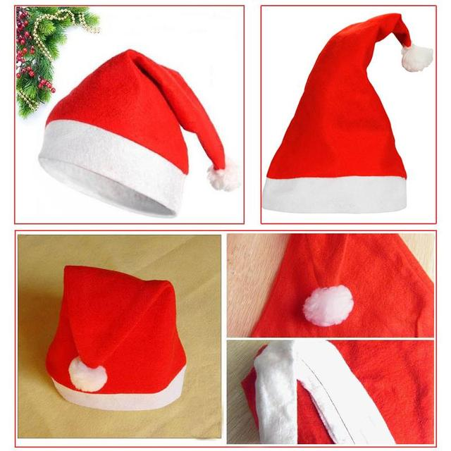 4pcs Lot Christmas Party Decoration Red Santas Hat Xmas Sinterklaas Caps Kids Adult