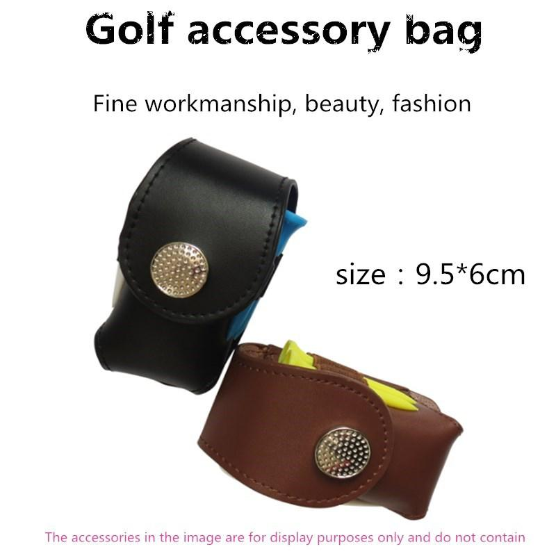 Mounchain Portable Golf Ball Small Waist Packing Bag Delicate Leather Golf Small Accessory Bag