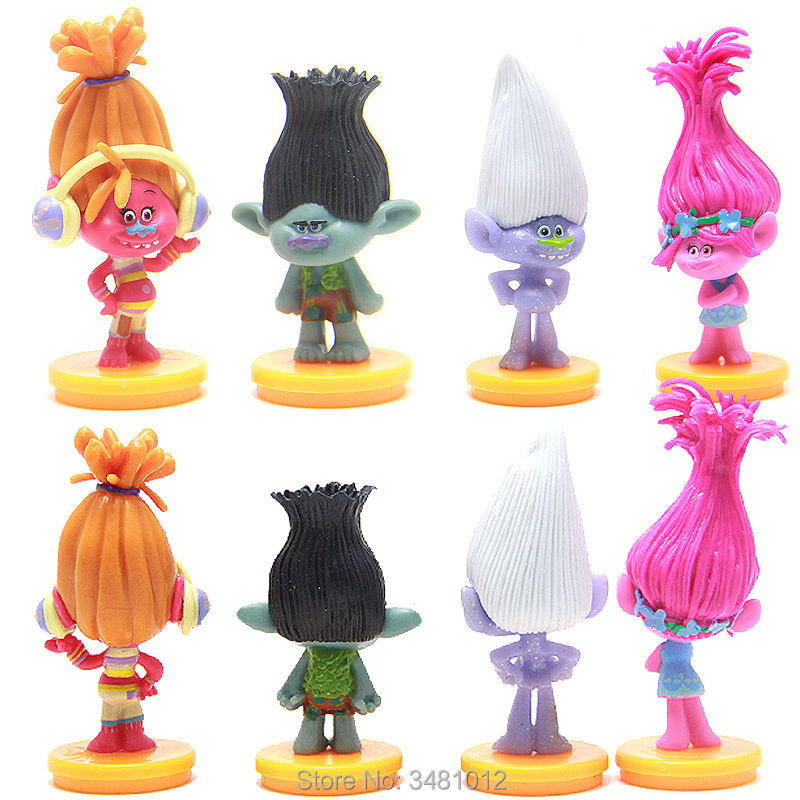 4pcs/set Trolls Movie Poppy Branch DJ Suki PVC Action Figures Guy Diamond Collectible Dolls Dreamworks Anime Figurines Kids Toys ...
