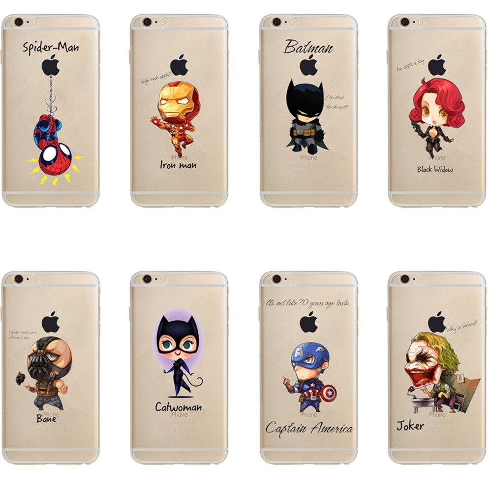 2bb44eb25b Detail Feedback Questions about Phone Case Marvel The Avengers Batman DC  Comics Superhero Joker Deadpool Clear Soft Case Cover for iPhone 6 6S 7 8  Plus 5S ...