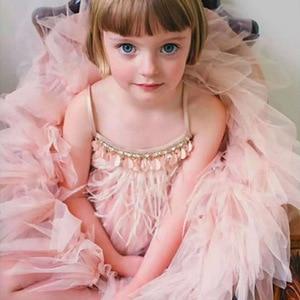 Image 4 - Fashion Feather Tassels Girls Dress 2 10 yrs Girl Wedding Party Dresses Kids Princess Dress Birthday Costume Childrens Clothing