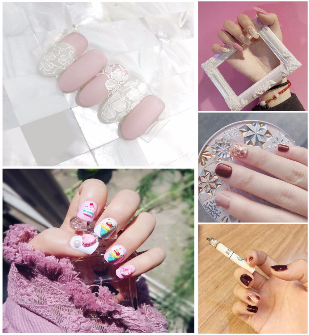 Wholesale link 10 sets pack beautiful decorated false nails french Cute lady full nail tips Bride