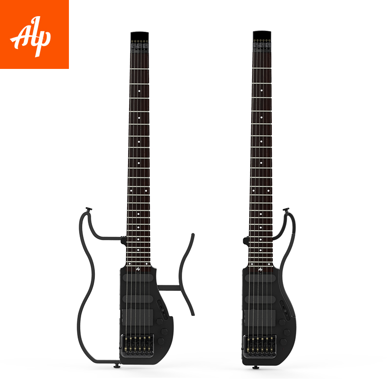 ad 80 alp headless travel electric guitar with built in headphone amp full scale portable guitar. Black Bedroom Furniture Sets. Home Design Ideas