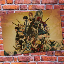 Home Decor Fairy Tail Anime Poster Wall Stickers Vintage Paper Wall Decals(China)