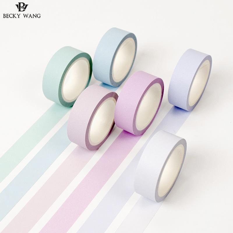 12 Colors Paper Washi Tape 15mm*8m Pure Masking Soft Tapes Candy Decorative Stickers Diy For Planner Stationery School Supplies 9cmx5m creative life edition washi paper tape 9cm delicacy small objects decorative tape