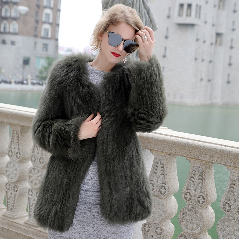 knitted fox fur coat middle long real fur for women winter Genuine Fur Jackets Ladies Winter Real Furs Outerwear o collar coats