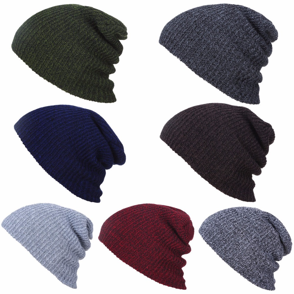 Men Fashion Stripe Knitted Beanie Hat Winter Warm Ski Crochet Slouch Wooly Cap HATLZ0001