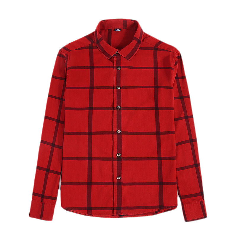 Spring Wholesale Casual Flannel Shirts Single Breasted long sleeve Full thick shirts Men's plaid high quality size M-2XL3XL 5