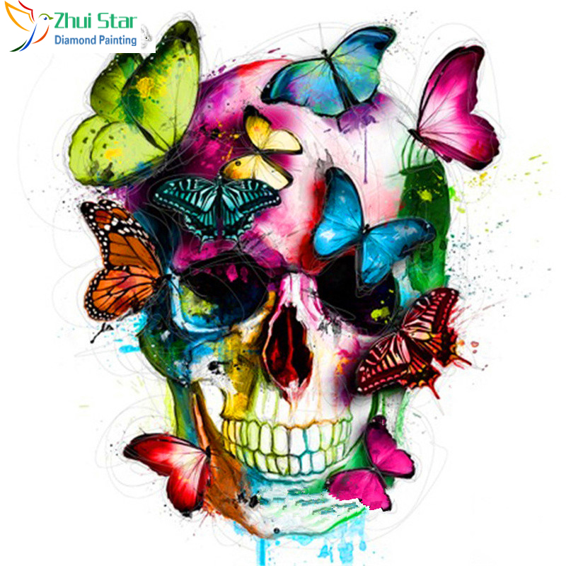 Zhui Star 5D DYI all Square drill Diamond Painting Embroidery butterfly skulls Cross Stitch Rhinestones Diamond Mosaic decor