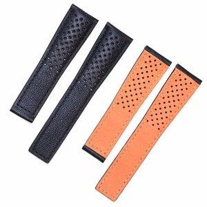 Image 2 - Pesno حقيقية حزام جلد العجل الجلد جلد حزام (استيك) ساعة أسود الرجال ووتش اكسسوارات مناسبة ل تاغ هوير موناكو