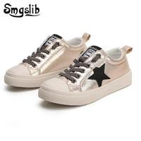 Kids Shoes Sneaker Tenis Infantil Boys Girls Spring Leather Children Toddler Glitter Rubber Shoes Star Silver