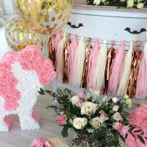 Image 2 - 1 takım düğün bebek gelin doğum günü partisi dekor bej gül altın pembe doku kağıt DIY püskül Garland kiti kağıt zanaat malzemeleri