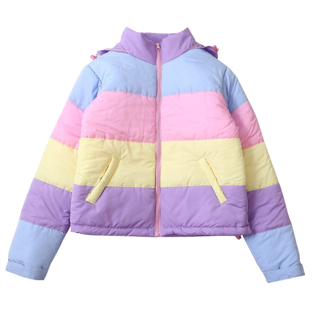 Fashion Women Parkas Mujers Coats Hooded Makaron Color Block Loose Ladies Cotton Padded Outwear Winter Jacket  Thicken Warm-in Parkas from Women's Clothing    1