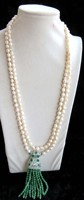 3rows freshwater pearl white baroque &green jade necklace 40inch FPPJ wholesale beads nature