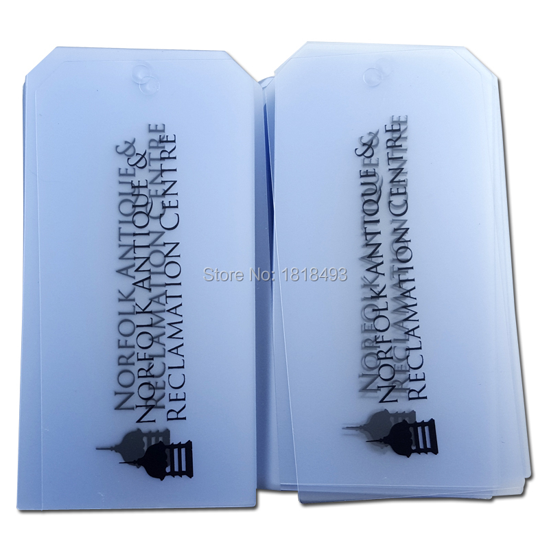 customize shape cutting plastic tags/clothing clear PVC tags/garment labels printing/main label/brand/trademark 1000 pcs a lot
