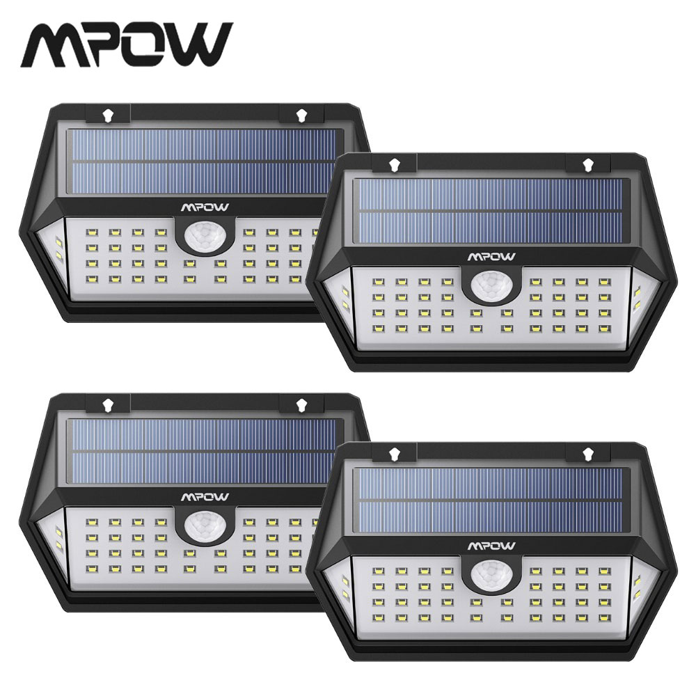 4 Pack Mpow 40 LED Motion Sensor Solar Light Lamp Outdoor Garden IP65 Waterproof 120 Wide-angle Sensor Lampe Solaire Exterieur