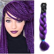 24″100g 1 pc/lot Ombre Purple Box Braids Hair Kanekalon Synthetic Purple Hair Expressions Braiding Hair Extensions length