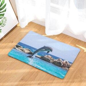 Image 2 - CAMMITEVER باب القدم اليوغا كرسي تلعب حصيرة الحمام المدخل السجاد منطقة البساط مستطيلة ديكور المنزل دولفين في البحر الأزرق