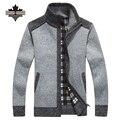 Novo Chega Outono Inverno Cardigans Blusas Gola Mandarim dos homens Roupas Casuais Para Homens Zipper Camisola Morna Malhas Camisola