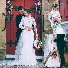 Modest Lace Illusion High Neckline Sheath Wedding Dresses Long Sleeves High Quality Bridal Dress robe de bal longue