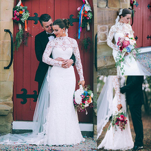 เจียมเนื้อเจียมตัวภาพลวงตาลูกไม้คอสูง Sheath งานแต่งงานชุดยาวแขนคุณภาพสูงชุดเจ้าสาว robe de bal longue
