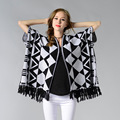 Oversized Sweater Cardigan Olivia Palermo Catwalk Street Snap Knitted Cardigan Plaid Cape Poncho Shawl Women Lady Tassel Crochet
