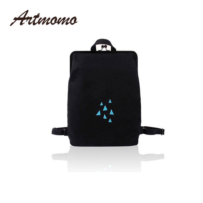 Yizi Canvas Backpack Female Simple Mini Backpack Art Student Bag Embroidery With Metal Frame Clasp Gold Teenage Girls Backpack